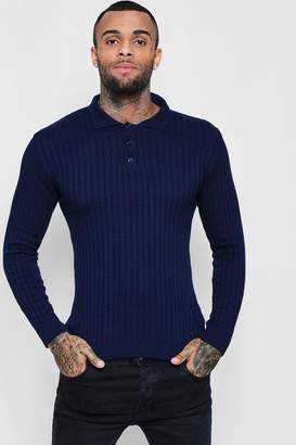 boohoo Muscle Fit Ribbed Long Sleeve Polo