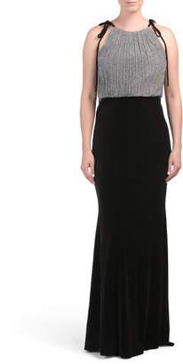 Pleated Velvet Dress With Tie Shoulders