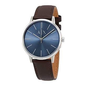 6833ec048de Armani Exchange Men s Cayde Stainless Steel Analog-Quartz Watch with  Leather Strap