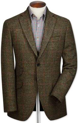 Charles Tyrwhitt Slim Fit Green Checkered British Tweed Wool Jacket Size 42