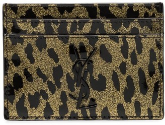 Saint Laurent metallic leopard-print leather cardholder