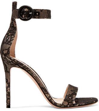 Gianvito Rossi Portofino 105 Lace Sandals - Black