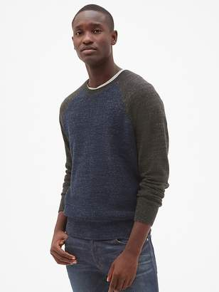 Gap Textured Colorblock Crewneck Pullover Sweater