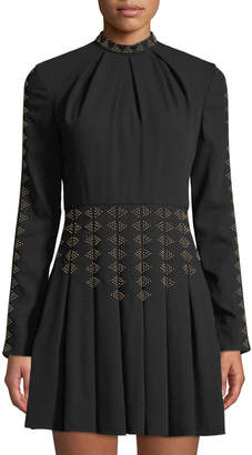 Valentino Geometric-Studded Pleated Mock-Neck Mini Dress