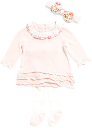 Newborn Girls Sweater Dress With Headband Tights