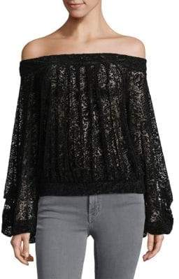 Free People Ginger Berry Off-the-Shoulder Patterned Top