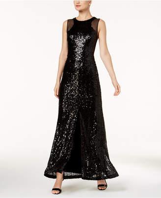 Calvin Klein Mesh & Sequined Slit Gown