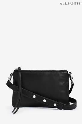 b6dc1adef0ec19 AllSaints Womens Black Leather Captain Cross Body Bag - Black