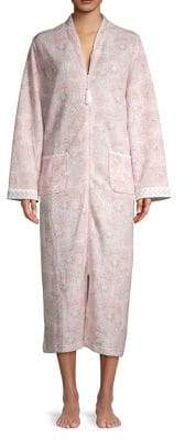 Miss Elaine Quilted Paisley-Print Robe