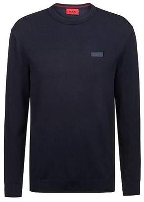 HUGO BOSS Crew-neck crepe sweater with logo badge