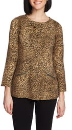 Chaus Zip Pocket Animal Print Top