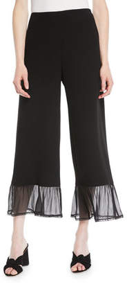 See by Chloe Wide-Leg Crepe Ankle Pants w/ Ruffle Bottom