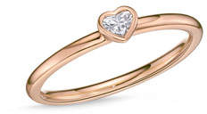 Memoire 18k Rose Gold Heart Diamond Stack Ring, Size 6.5