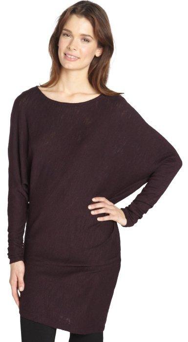Three Dots wine country asymmetrical hem cotton blend tunic