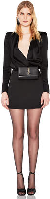 Saint Laurent Satin Plunging Mini Dress