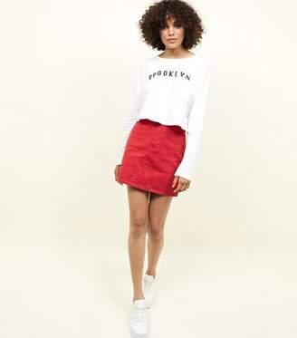 New Look Red Denim Mini Skirt