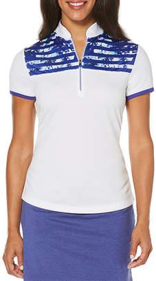 PGA Tour TOUR Easy Care Short Sleeve Floral Polo Shirt