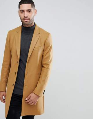 Paul Smith Wool Cashmere Overcoat In Camel