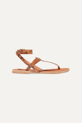 Ancient Greek Sandals Estia Snake-effect Leather Sandals
