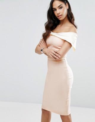 Vesper Bardot Overlay Pencil Dress in Color Block $85 thestylecure.com