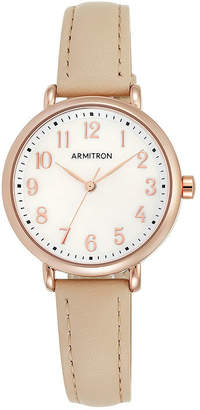Mother of Pearl Armitron Womens Mother-of-Pearl Rose-Tone Pink Leather Strap Watch