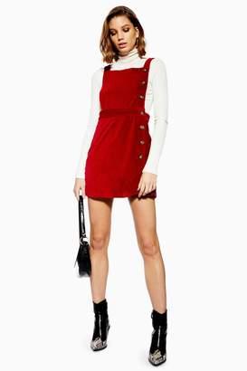 Topshop PETITE Button Corduroy Pinafore Dress