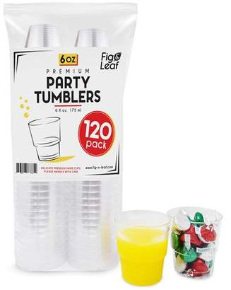 Top Choice Fig and Leaf (120 Pack) Premium Hard Plastic 6 OZ Party Cups l Old Fashioned Tumblers Crystal Clear 6-Ounce l for Catering Wedding Birthday