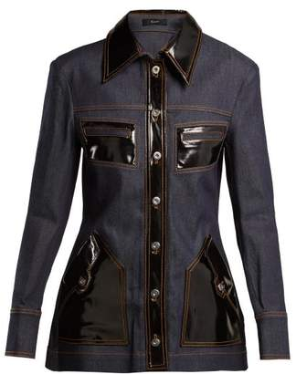 Ellery Spector Pvc Trimmed Denim Jacket - Womens - Denim