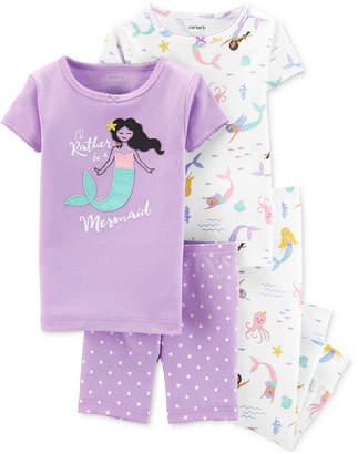 Carter's Carter Toddler Girls 4-Pc. Cotton Mermaid Pajamas Set