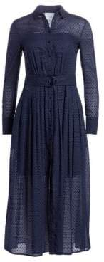 Akris Punto Swiss Dot Belted Cotton Midi Dress