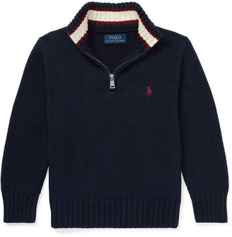 Ralph Lauren Combed Cotton Half-Zip Pullover Sweater, Size 2-4