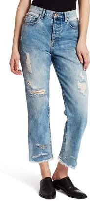 Ella Moss Distressed High Waist Straight Leg Crop Nonstretch Jeans