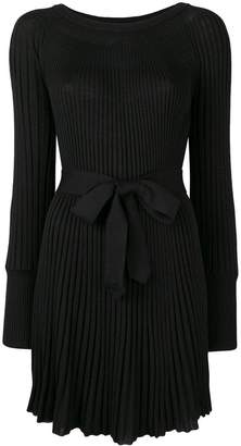 Twin-Set tie waist pleated dress