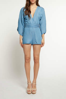 Dex V Neck L/S Belted Denim Romper