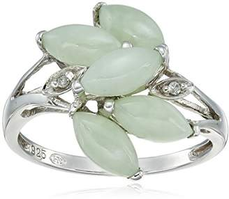 Sterling Silver Genuine Green Jade and Diamond Accent Leaves Ring