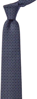 Salvatore Ferragamo Marine Blue & Pearl Gancini Silk Tie