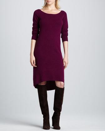 Neiman Marcus Bateau-Neck High-Low Cashmere Dress, Women's