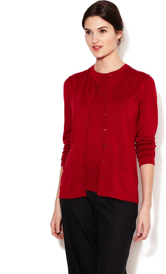 Carolina Herrera Silk Knit Basic Cardigan