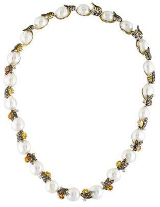 18K Pearl, Diamond & Sapphire Collar Necklace