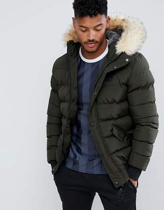 SikSilk puffer jacket with faux fur hood in khaki