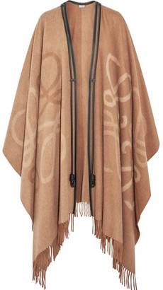 Reversible Leather-trimmed Wool And Cashmere-blend Cape - Beige