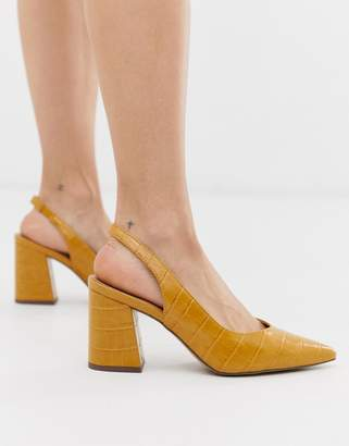 bf96d78a5118 New Look slingback block heeled shoes in dark yellow croc