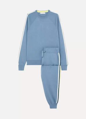 Olivia von Halle Missy Monaco Striped Silk-blend Sweatshirt And Track Pants Set