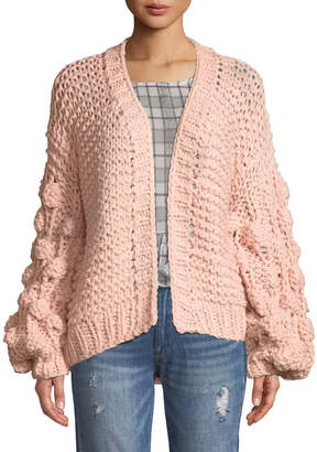Haute Rogue Chunky-Knit Balloon-Sleeve Cardigan