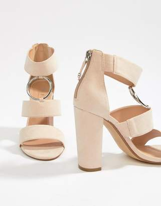 Office Habibi suede three strap chunky heeled sandals