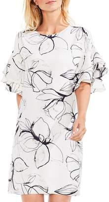 Vince Camuto Women's Tiered Ruffle Fresco Petals Dress
