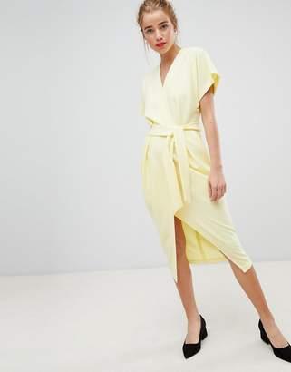 Closet London short sleeve tie front dress in lemon yellow