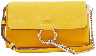 Chloé Faye leather and suede cross-body wallet bag