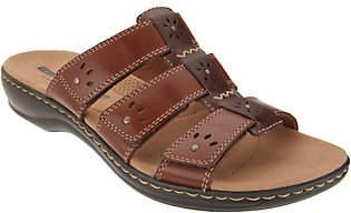 Clarks Leather Triple Strap Slides -Leisa Spring