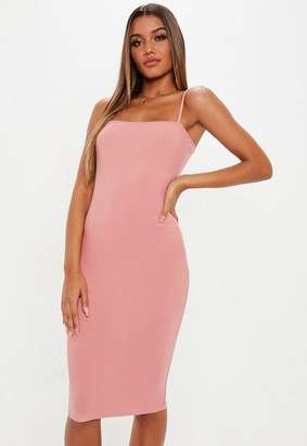 Missguided Blush Strappy Cami Midi Dress